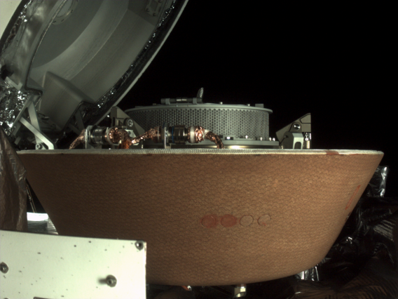 Taken on Oct. 28 by NASA's OSIRIS-REx spacecraft, this image shows the collector head after it was separated from the Touch-And-Go Sample Acquisition Mechanism arm. The collector head is secured onto the capture ring in the Sample Return Capsule. NASA/Goddard/University of Arizona/Lockheed Martin