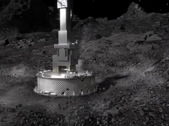 The sampler head of the OSIRIS-REx spacecraft works not unlike a reverse vacuum cleaner, designed to collect loose material from the surface of asteroid Bennu on Oct. 20. (NASA/Goddard Space Flight Center)
