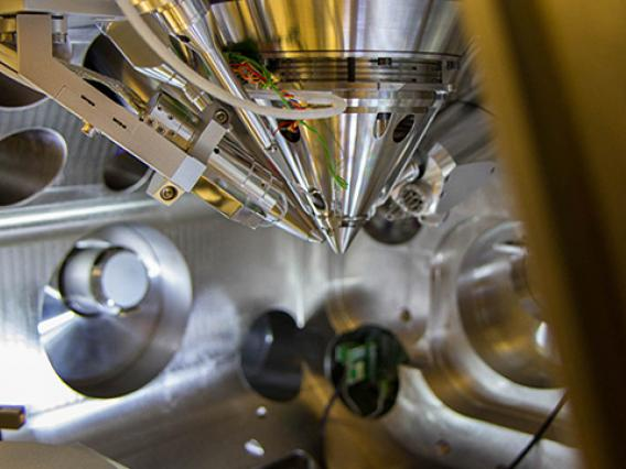 Close-up of a focused ion beam.