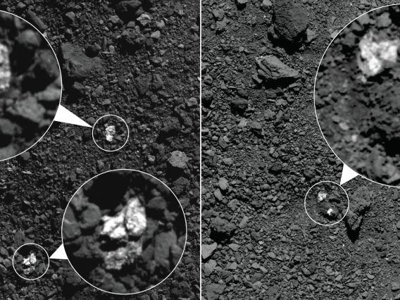 During spring 2019, NASA's OSIRIS-REx spacecraft captured these images, which show fragments of asteroid Vesta present on asteroid Bennu's surface. The bright boulders (circled in the images) are pyroxene-rich material from Vesta. Some bright material appear to be individual rocks (left) while others appear to be clasts within larger boulders (right).NASA/Goddard/University of Arizona