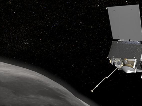 OSIRIS-REx is scheduled to arrive at Bennu, a primitive carbonaceous asteroid, in the fall of 2018. After surveying Bennu for two years, the spacecraft will extend its sampling arm to touch down on the asteroid's surface and collect a sample of pristine asteroid material.