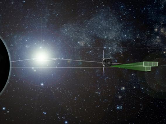 An artist's rendering of the OSIRIS-REx spacecraft's survey pattern during its Earth-Trojan asteroid search (not to scale). The search occurs Feb. 9-20 as the spacecraft transits the Earth's L4 Lagrangian region. (Illustration: Heather Roper/UA)